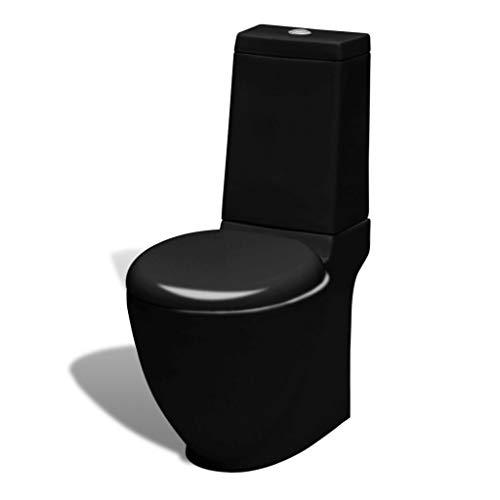 vidaXL WC Keramik Toilette Badezimmer Rund Soft Close Absenkautomatik Senkrechter Abgang Schwarz