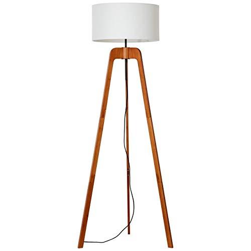 BRILLIANT NOLA - Lámpara de pie (bambú y tela, 148 cm), color blanco y oscuro