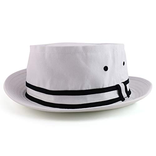 Armycrew Oversized XXL Roll Up Bucket Hat with Stripe Band - White Black - 2XL