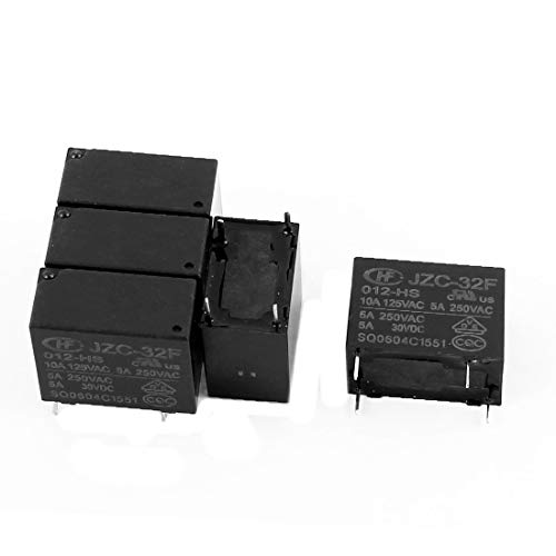 New Lon0167 5 Pcs Featured 12VDC 250VAC 5A reliable efficacy 4 Terminal SPST NO JZC-32F-012-HS Power Relay(id:2f6 b5 34 607)