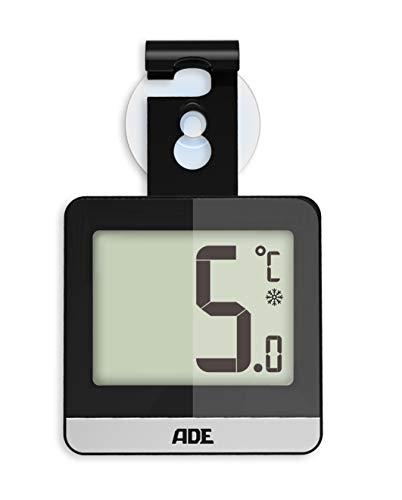ADE Digitales Kühlschrankthermometer WS1832 (Thermometer für Kühlschrank oder Gefrierschrank mit Standfuß, Magnet, Saugnapf und Haken) schwarz
