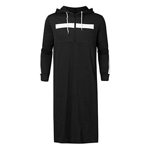 Satiable_Pullover Herren Lang Muslimische Sweatshirt Männer Langarm Hoodie Muslim Kostüm Pullover Herbst Winter Casual Robe Maxikleid Kaftan Kapuzenpullover Sweatjacke Pulli Mantel Sweater