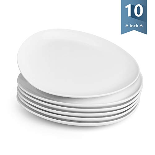 Sweese 158.001 Porcelain Triangular Dinner Plates - 10 Inch - Set of 6, White