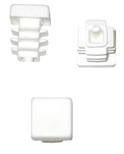 Lot de 20 bouchons à lamelles carrés pour tuyaux 12 x 12 mm (extérieur) Blanc