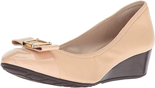 Cole Haan Women's Emory Bow Wedge (40MM) Pump, Nude Leather, 8.5 B US