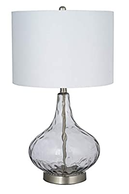 Catalina Lighting Transitional Thumbprint Glass Gourd Table Lamp