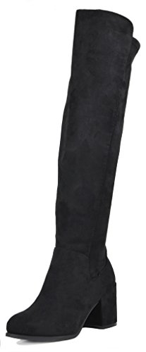 TOETOS Women's Prade-01 Black Suede Over The Knee Chunky Heel Boots Size 8 M US