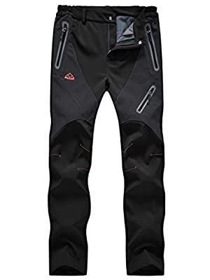 TBMPOY Women's Windproof Waterproof Snow Pants Outdoor Hiking Fleece Pants(01black,us S)