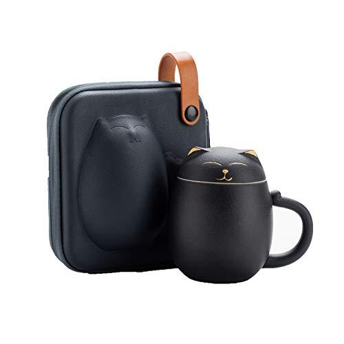 Ceramic Red Tee Cup-Infuser - 300ml - großer Tee-hochgefeuerter Keramik-Becher mit Deckel und Edelstahl-Infuser - Teetassengeschenk für EIN perfektes Set für Büro- und Heimgebrauch,Schwarz