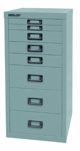 BISLEY Schubladenschrank 29 aus Metall mit 8 Schubladen | Schrank für Büro, Werkstatt und Zuhause | Stahlschrank in 11 Farben (Silber)