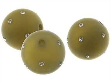Creative-kralen 20 mm polariskralen met fonkelende strass-steentjes, modieuze kleurkeuze voor zelfgemaakte sieraden olijfgroen