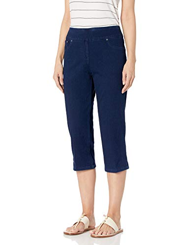 Ruby Rd. Women's Pull-on Indigo-Dyed Stretch Knitted Twill Cropped Capri, 6