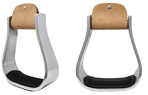 PRORIDER Horse Saddle Bell Stirrups Width 4-3/4' Western Brown Leather 5101
