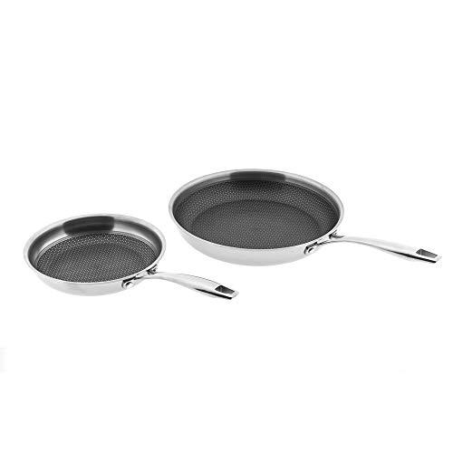 Smak Premium Cook - Juego de sartenes de inducción de acero inoxidable con revestimiento de cerámica para cocina de inducción o de gas, sartenes antiadherentes, 28 cm y 20 cm