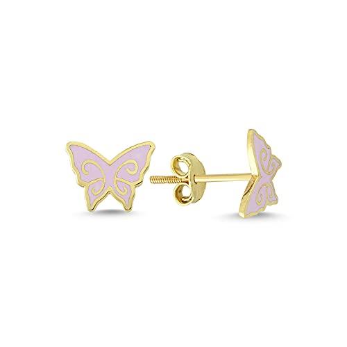 14k (585) Gold Enamel Butterfly Kids...
