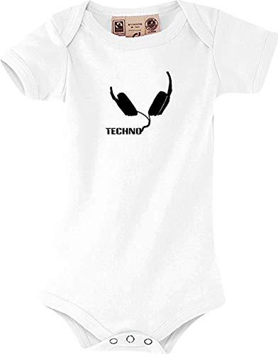 Preisvergleich Produktbild Shirtstown Baby Body Head Musiclogo,  Techno,  Kopfhörer,  kult,  weiss,  6-12 Monate
