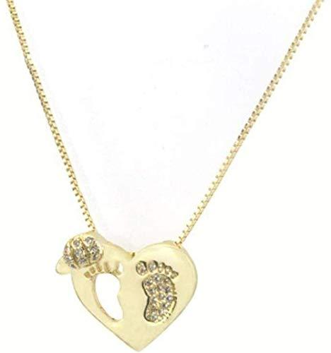 XQKQ Collar Creativo Zirconio Collar de pie en Forma de corazón Chapado en Oro Amor Hueco Colgante Personalizado Diseño de Moda Desgaste Boutique para Mujeres Hombres