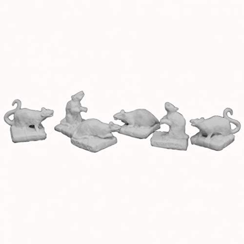 Reaper Miniatures Rats (6) #77016 Bones Unpainted Plastic D&D RPG Mini Figure