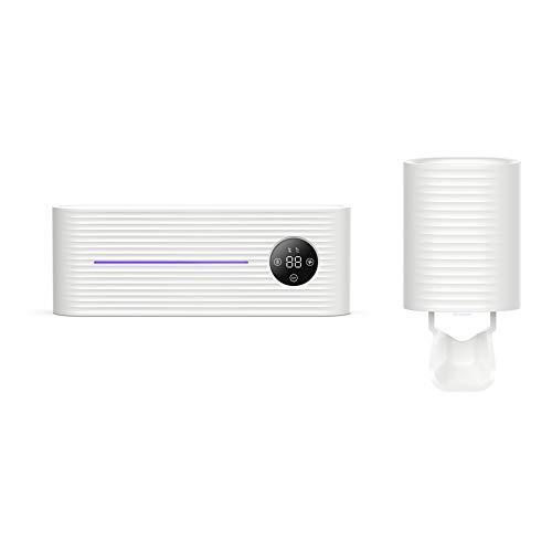 HLSUSAN UV Zahnbürstenhalter USB-Schnellladung and LED-Bildschirmanzeige, Automatischer Zahnpasta-Quetscher Wandmontage Desinfektions-Zahnbürstenhalter Für das Badezimmer,Weiß,B