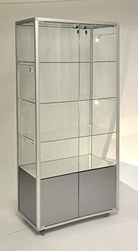 MHN Glasvitrine abschließbar mit Staufach ohne Beleuchtung - ca.80 cm breit 40 cm tief - 2-türig - auf Rollen