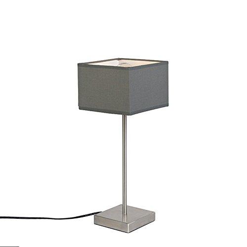 QAZQA Modern Moderne Tischlampe grau - VT 1 / Innenbeleuchtung/Wohnzimmerlampe/Schlafzimmer Textil/Stahl Quadratisch LED geeignet E27 Max. 1 x 60 Watt
