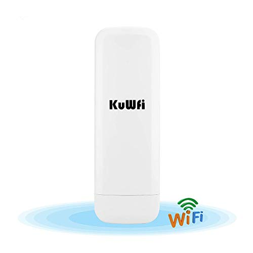 300Mbps Ripetitore WiFi Wireless, KuWFi Impermeabile Outdoor CPE 3KM Wireless Access Point AP esterno a lunga distanza CPE POE Adapter e antenna 15dbi Display LED a lungo raggio Aggiornamento versione