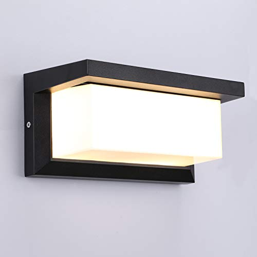 Lightess Apliques de Pared Exterior LED 12W Lámpara de Pared Impermeable IP65 Luz de Aluminio Iluminación para Balcón, Jardín, Porche,...