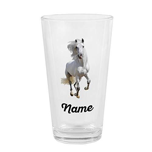 Herz & Heim® Kinder Trinkglas mit Pferd und Namen für Pferdeliebhaber