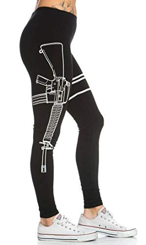 Guns Out Machine Gun Leggings in Black,Medium