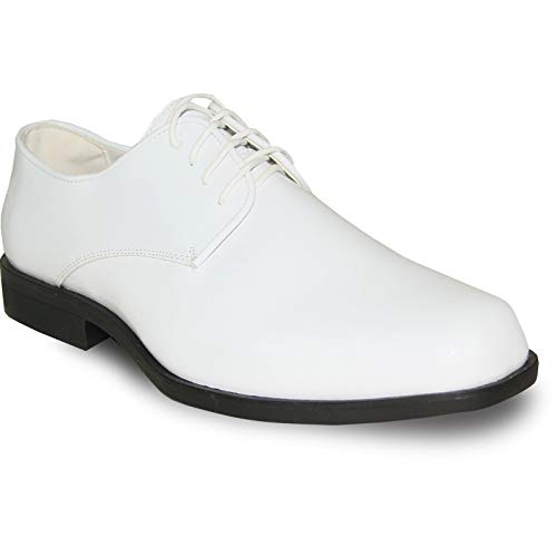 VANGELO Men Oxford Dress Shoe Tux-1 Formal Tuxedo Shoe for Wedding, Uniform and Prom White Patent Size 8W