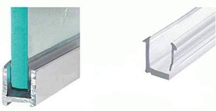 Aluminium Duschkabinen Klemmprofil U-Profil für 8mm Glasstärke in 240cm Edelstahl gebürstet schmal Wandprofil Duschabtrennung Befestigung Glasprofil Steckprofil