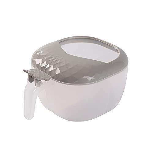 FUBBY Caja para especias de plástico con 4 rejillas, con cucharas y tapa para especias, sal y azúcar