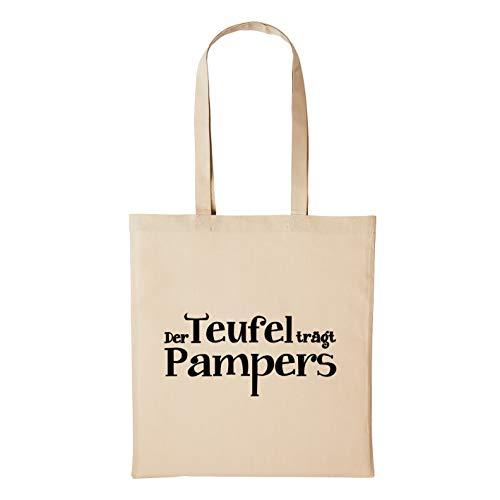 Hellweg Druckerei Jutebeutel Teufel trägt Pampers Prada Kid Geschenk-Idee für Damen und Herren Tasche Baumwolle für Freunde und Familie