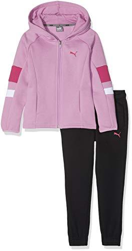 PUMA Hooded Sweat Suit G, Tuta da Allenamento Bambina, Orchidea-Nero, 176