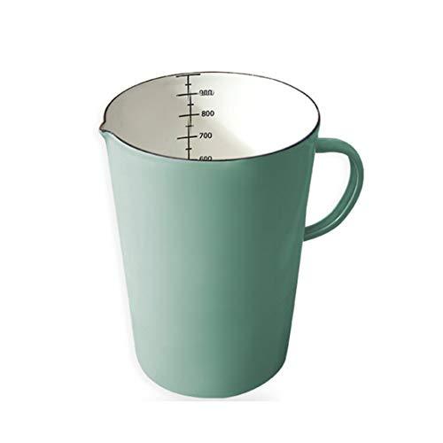 Beautify-HOT Weißer Messbecher, 1 l, Emaille-Tasse, Küchenzubehör, beheizbarer Emaille-Topf mit Griff, Küchenzubehör, Messbecher, Küchenmessbecher, Kochgeschirr, grün-blau (Farbe: grün)