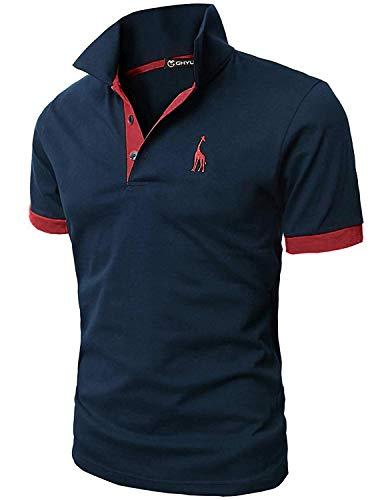 GHYUGR Kortärmad polotröja för män giraff kontrastfärger golf tennis t-shirt, Blå+röd, L