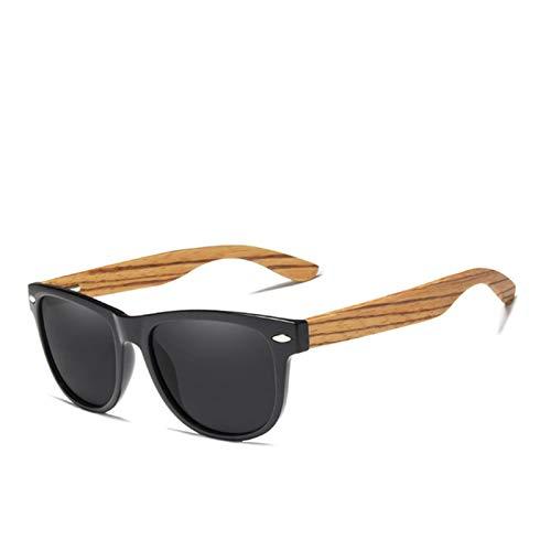 FFSMCQ Moda de madera Polarizadas Plaza Gafas de sol Hombres Mujeres Espejo Lente UV400 Protección Driving Gafas de sol Gafas