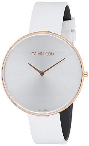 Calvin Klein Damen Analog Quarz Uhr mit Leder Armband K8Y236L6