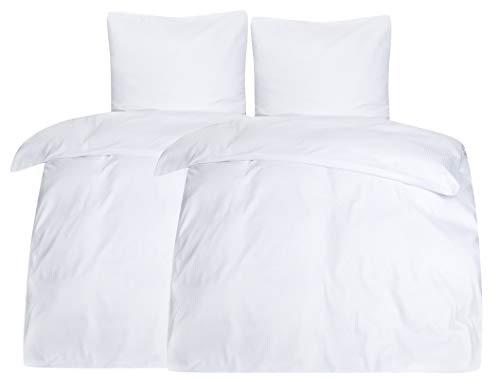 Moon 4tlg. Hotelbettwäsche Bettwäsche weiß Damast 5 mm Reißverschluss 95° 135x200 / 80x80
