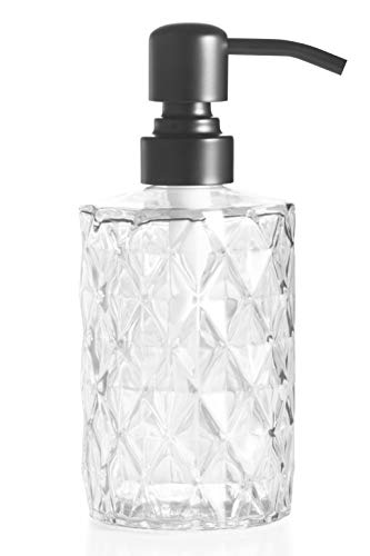 Easy-Tang Soap Dispenser 12 Oz for Kitchen,Bathroom,Laundry Room - Refillable Wash Hand Liquid Clear Glass Bottle with Black Stainless Steel Pump,Ideal for Essential Oil,Shampoo Lotion (Clear)
