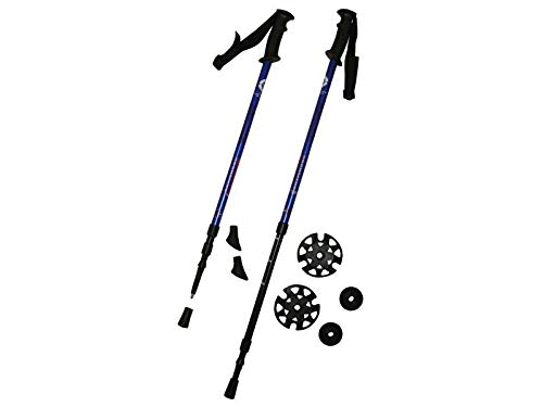 ACRA Brother Bastones de Senderismo Resistentes a la corrosión, de Aluminio Muy Ligero | Bastones de Senderismo Alpino para Adultos | Trekking Nordic Walking | Blau 65-135 cm