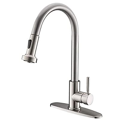 VCCUCINE Commercial High Arc Stainless Steel Single Handle Pull Down Sprayer Brushed Nickel Kitchen Sink Faucet,Pull Out Kitchen Faucet with Escutcheon