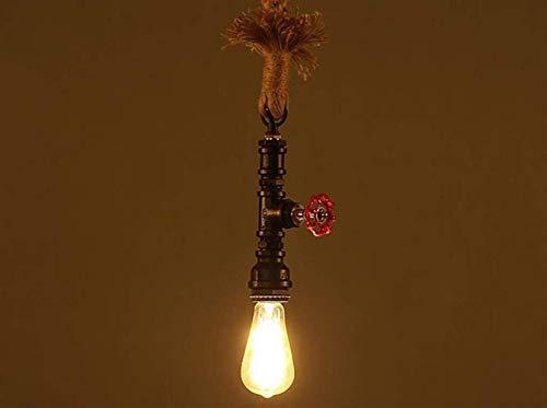 Nuokix Techo iluminación de la lámpara de luz Luces pendientes, Tuberías de agua Loft cuerda del cáñamo de la lámpara, retro Restaurante Bar Lámparas y linternas Arte Industria barra de la personalida