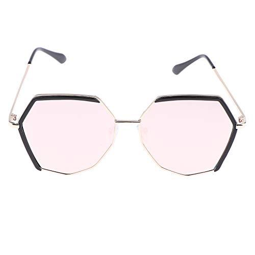 Las Mujeres Retro Espejo Poligonal Irregular Espejadas Gafas de Sol con Protección UV Rosa Negro