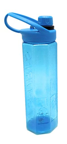 Botella de Agua Deportiva. Cantimplora transparente con boquilla, tapón y asa. Capacidad de 1 L. Material de plástico antideslizante. (AZUL)
