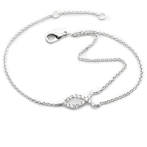 Les Tresors De Lily [R3677] - Silver Bracelet (PPooiissssoonn JJ e ssuuss) Silvery White (Rhodium) - 12x6 mm.