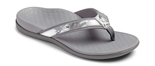 Vionic Women's Tide II Toe Post Sandal - Ladies Flip Flop with Concealed Orthotic Arch Support Grey Floral 10 Medium US