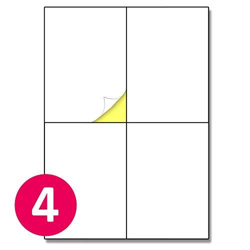 148,5 x 105 mm (A6), 25 Blatt, A4 Aufkleber Etiketten Selbstklebend Versandetiketten - 4 Stück pro Blatt