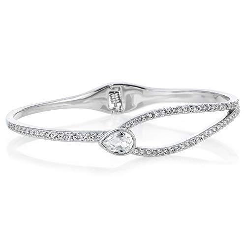 Buckley London Damen Armband Messing 50x60mm rhodiniert Kristall weiß 430060113