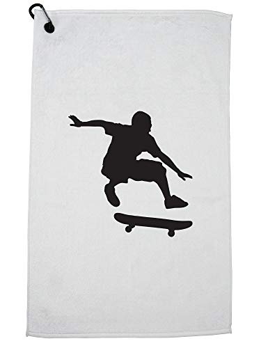 Hollywood Thread Trendy Skater Silhouette Doing Ollie Skateboard Trick Golf Handdoek met Karabijnhaak Clip